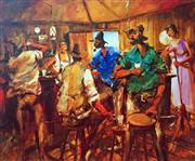 Sale 8752A - Lot 5030 - Hugh Sawrey (1919 - 1999) - Kidman Men - In the Betoota Pub, Northern Fringe Channel Country 45 x 54cm