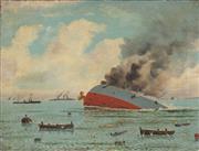 Sale 8773 - Lot 599 - J H Heffer (Petty Officer Royal Navy) - Sinking of Mainz Heilogoland Bight, August 28th 1914 67 x 88.5cm