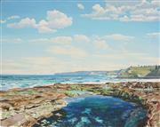 Sale 8901A - Lot 5005 - Rod Bathgate - Newcastle Coastline 53 x 67.5 cm
