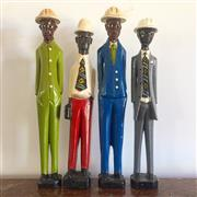 Sale 8878T - Lot 77 - Timber Carved and Handpainted Set of Four Business Men Height - 30cm
