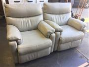 Sale 8979 - Lot 1008 - Pair of Plush Leather Reclining Armchairs (H:99 x W:87 x D:103cm)