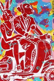 Sale 9009A - Lot 5036 - Gille & Marc - Vespa Riders 90 x 60 cm (frame: 108 x 78 x 4 cm)