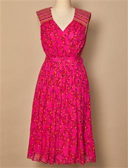 Sale 9093F - Lot 9 - A Diane von Furstenberg silk floral fuschia knee length dress, size 0