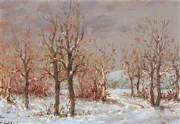 Sale 9099A - Lot 5066 - Jozsef Csillag (1894 1977) - Winter Landscape II 11.5 x 16.5 cm (frame: 23 x 28 x 3 cm)