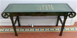 Sale 9256H - Lot 2 - A Chinese green and gold lacquered console table with calligraphy to top, H 75cm x W 153cm x D 38.5cm.