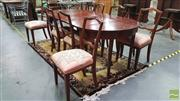 Sale 8337 - Lot 1015 - D-End Dining Table with 2 Leaves & 8 Carved Back Dining Chairs