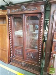 Sale 8428 - Lot 1100 - Good quality 19th century French oak bookcase with pillars (H 220 x W 131 x D 48cm)