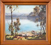 Sale 8427 - Lot 575 - John Samuel Loxton (1903 - 1969) - Day on the Lake 58 x 68.5cm