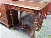 Sale 8617 - Lot 1072 - French Renaissance Style Walnut Side Table, with single drawer, turned legs & X shaped stretcher