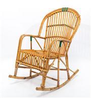 Sale 8660A - Lot 55 - A vintage mid 1900s split cane rocking, H 99cm x W 62cm x D 73cm