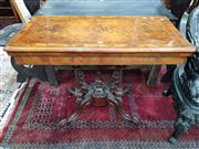 Sale 8868 - Lot 1121 - Victorian Burr Walnut & Thuya Banded Card Table, the hinged top revealing a green baize interior, on turned bird-cage base