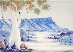 Sale 9116 - Lot 585 - Claude Pannka (1928 - 1972) Towards Mt Connor, Central Australia watercolour 50 x 69.5 cm (frame: 77 x 98 x 5 cm) signed lower right