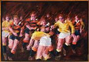 Sale 9001 - Lot 554 - I. Hunter - Rugby Tackle 90 x 130 cm (frame: 95 x 136 x 4 cm)