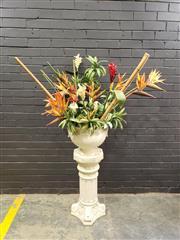 Sale 9006 - Lot 1003 - Ceramic Urn On Plinth with Faux Plants (H:175 x D:100cm)