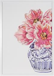 Sale 9045 - Lot 2001 - A decorative print of pink flowers in an Oriental vase, framed size 71 x 51cm