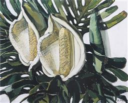 Sale 9042A - Lot 5090 - Margaret Preston (1875 - 1963) - Monstera Deliciosa 35 x 43 cm (frame: 57 x 67 x 3 cm)