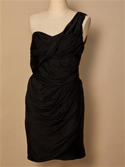 Sale 9093F - Lot 83 - A Bianca spender black one shoulder formal ruffle silk evening knee length dress, size 10