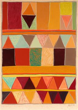 Sale 9125 - Lot 596 - Rosemary Rust Optical Magic II, 1981 acrylic and pastel 46 x 30 cm (frame: 67x 50 x 2 cm) signed and dated lower right