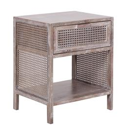 Sale 9250T - Lot 95 - A fruitwood side table with bird eye webbing in grey wash. Height 55cm x Width 45cm x Depth 35cm