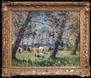 Sale 8427 - Lot 592 - Artist Unknown (XX) - Grazing Cattle 52 x 75cm
