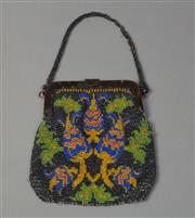 Sale 8493A - Lot 74 - A beautiful vintage beaded purse with oriental pattern in green, yellow, blue and pink with cotton lining, beaded strap and tortoise...