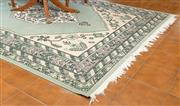 Sale 8515A - Lot 100 - A Chinese duck egg blue geometric carpet, 270 x 190cm