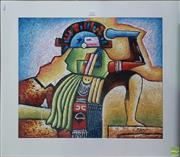 Sale 8604 - Lot 2050 - B. Long - Azteca mixed media on board 73 x 83cm (frame size)