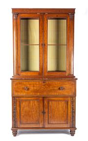 Sale 8651A - Lot 5 - An antique English mahogany William IV secretaire bookcase of 2 parts, c. 1835. The upper section fitted with a pair of glazed doors...