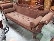 Sale 8714 - Lot 1053 - George IV / William IV Mahogany Double Ended Settee, with scrolled back, brown velvet upholstery & turned reeded legs