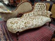 Sale 8728 - Lot 1066 - Victorian Carved Walnut Chaise Longue, with buttoned cut-moquette velvet & on cabriole legs