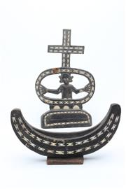Sale 8729 - Lot 9 - Soloman Islands Cross With Figure And Boat