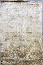 Sale 8777 - Lot 1089 - Cream & Green Wool & Silk Blended Rug (225 x 161cm)