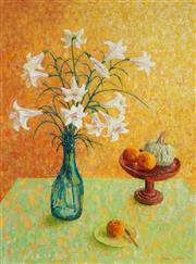 Sale 8980A - Lot 5012 - Una Foster (1912 - 1996) - Still Life On Green, 1994 100.5 x 74.5 cm (frame: 110 x 85 x 4 cm)