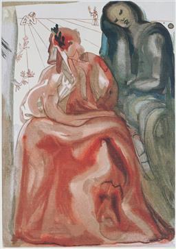 Sale 9161A - Lot 5081 - SALVADOR DALI (1904 - 1989) - Reawakening of Dante 33 x 25.5 cm (frame: 64 x 57 x 3 cm)