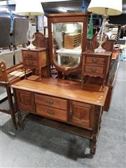 Sale 8988 - Lot 1090 - Edwardian Possibly Blackwood Mirrored Back Dresser (H:164 W:121 D:53cm)