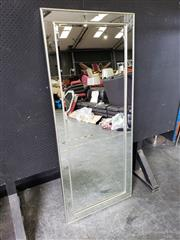 Sale 9026 - Lot 1086 - Large Silvered Gilt Trim Mirror With Mirror & Gilt Trim Surround (H161 x W68cm)Some Repair Made To Corner