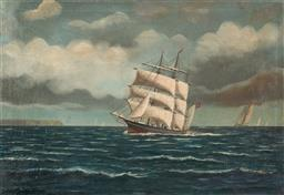 Sale 9125 - Lot 602 - Carl Rasmussen (1841 - 1893) Sailing Ship at Full Sail oil on canvas on board 44 x 66 cm (frame: 57 x 78 x 5 cm) signed lower left