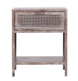 Sale 9250T - Lot 96 - A fruitwood side table with bird eye webbing in grey wash. Height 55cm x Width 45cm x Depth 35cm