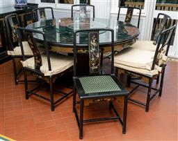 Sale 9256H - Lot 39 - A hand painted teak wood Chinese circular dining table with glass top and lazy Susan, on fluted pedestal base, with botanical and my...