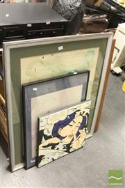 Sale 8468 - Lot 2068 - Group of 4 Artworks incl an Unframed Canvas Copy of Roy Lichtensteins Work & Norman Lindsay Print
