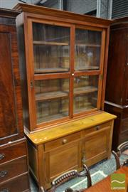 Sale 8500 - Lot 1010 - Early 20th Century Pine Dresser, with two sliding glass panel doors, above two drawer & two doors & caned panel sides