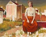 Sale 8633 - Lot 511 - Terence John Santry (1910 - 1990) - Untitled (Figure in Urban Landscape) 51 x 61cm