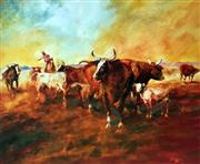 Sale 8752A - Lot 5032 - Hugh Sawrey (1919 - 1999) - Kidman Cattle - Bringing Up the Tail End of the Mob 45 x 54cm