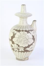 Sale 8802 - Lot 161 - Floral Brown Chinese Vessel H: 26cm