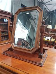 Sale 8917 - Lot 1040 - Antique French Walnut Table Top Toilet Mirror, with turned supports