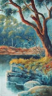 Sale 9047A - Lot 5053 - Henry Press (1844-1920) - Yarra River Bend, circa.1890 57 x 31.5 cm (frame: 73 x 47 x 5 cm)
