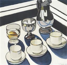 Sale 9081A - Lot 5036 - Margaret Preston (1875 - 1963) - Implement Blue 42 x 43 cm (frame: 83 x 83 x 3 cm )