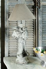 Sale 9087H - Lot 71 - A cast stone three lion head table lamp recently re-wired. Ht. to copper fitting 61 cm