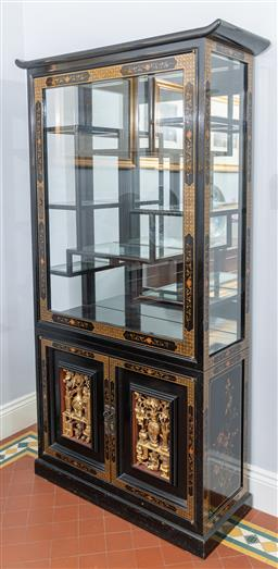 Sale 9256H - Lot 38 - A hand painted Chinese teak wood curio cabinet with mirrored back, and gold temple carving, painted seasonal flower design H 186cm x...