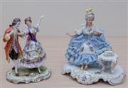 Sale 8430 - Lot 39 - A Rudolstadt Volkstedt dancing group together with a Dresden crinoline lady. Taller 18cm.